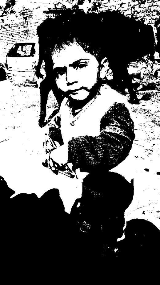 A Cute Child Black and White Pick
